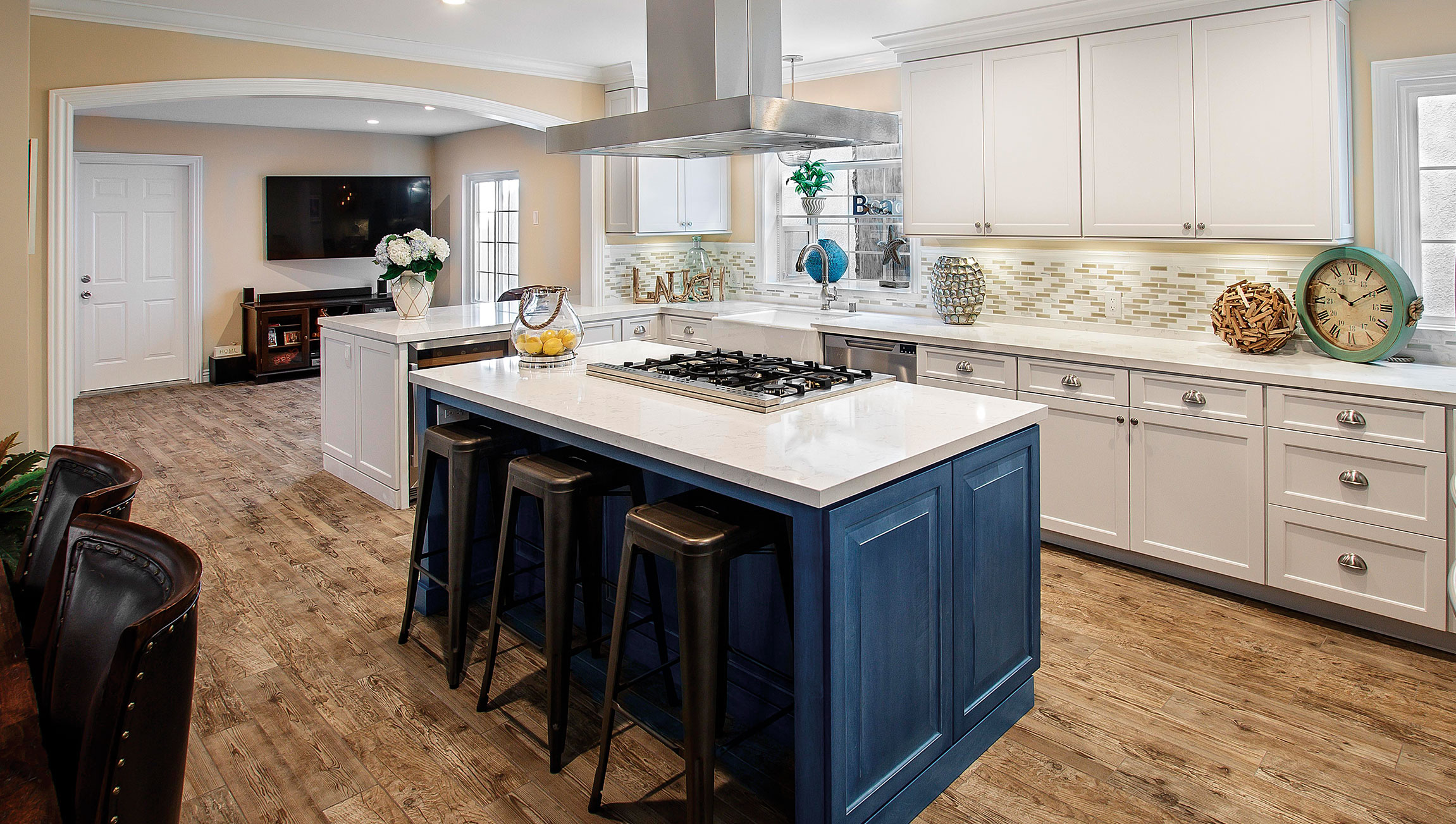 Kitchen Island Cabinets in Blue | DeWils Custom Cabinetry