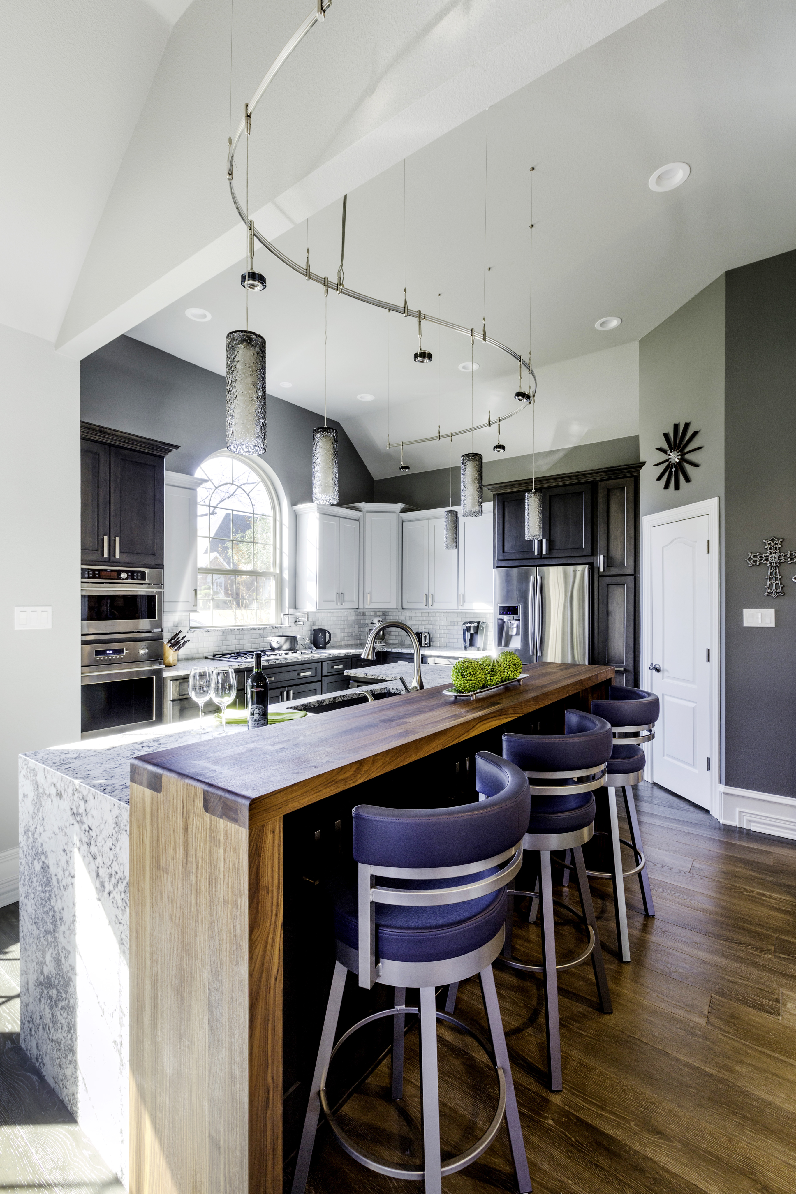 Light Gray and Dark Gray Kitchen Cabinets