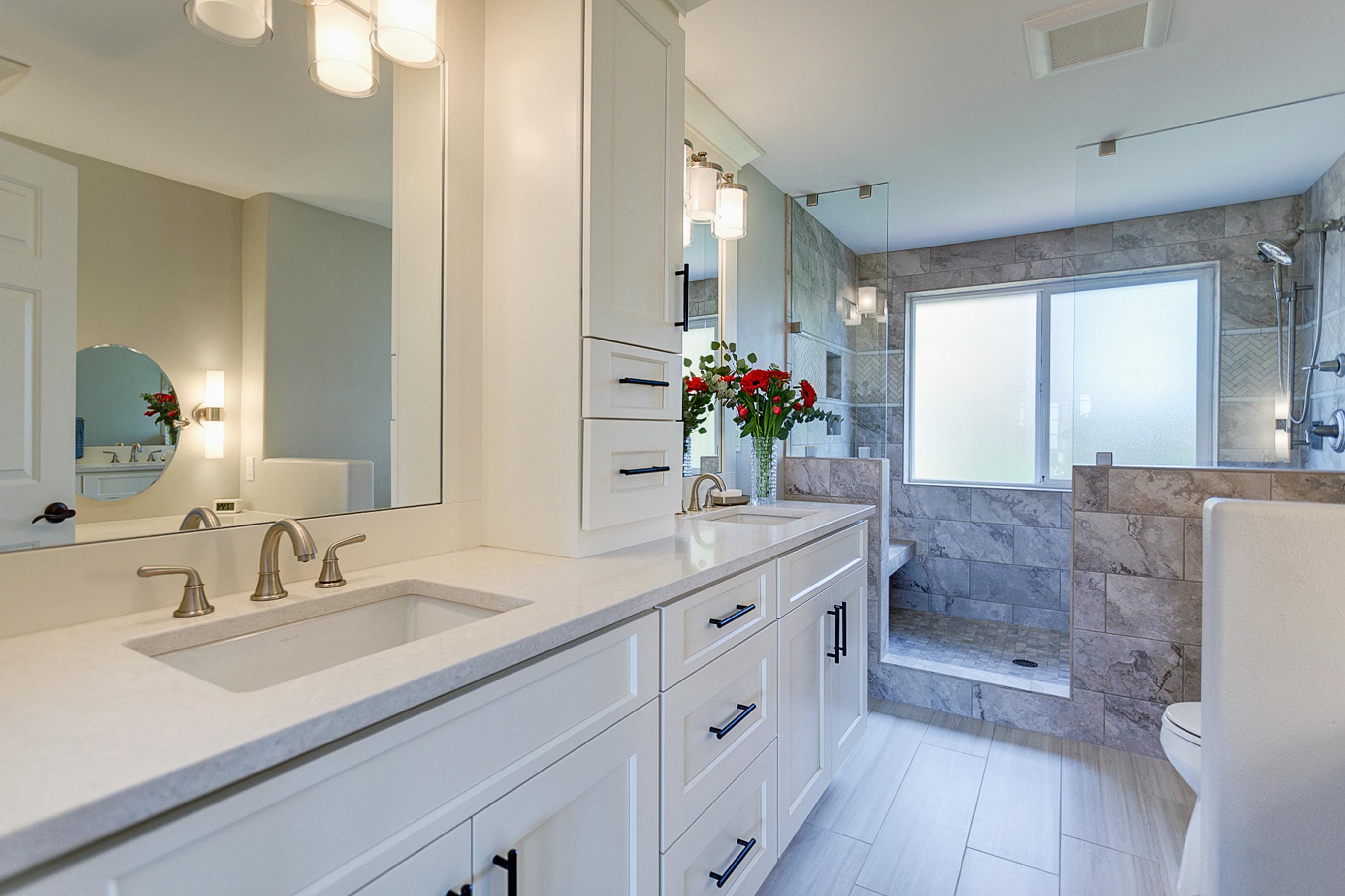 Contemporary White Bathroom Cabinets Dewils Custom Cabinetry
