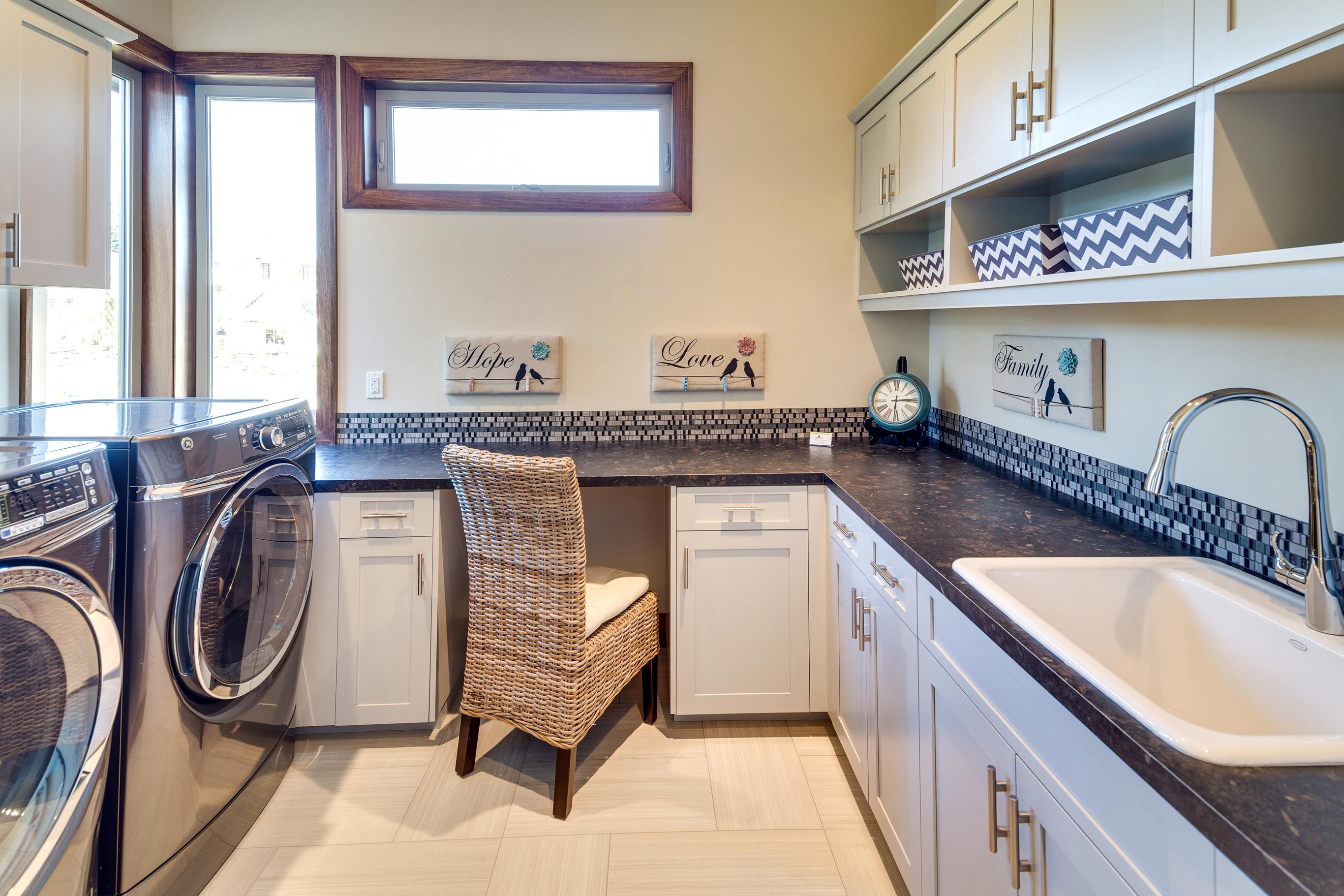 Grey Laundry Room Cabinets