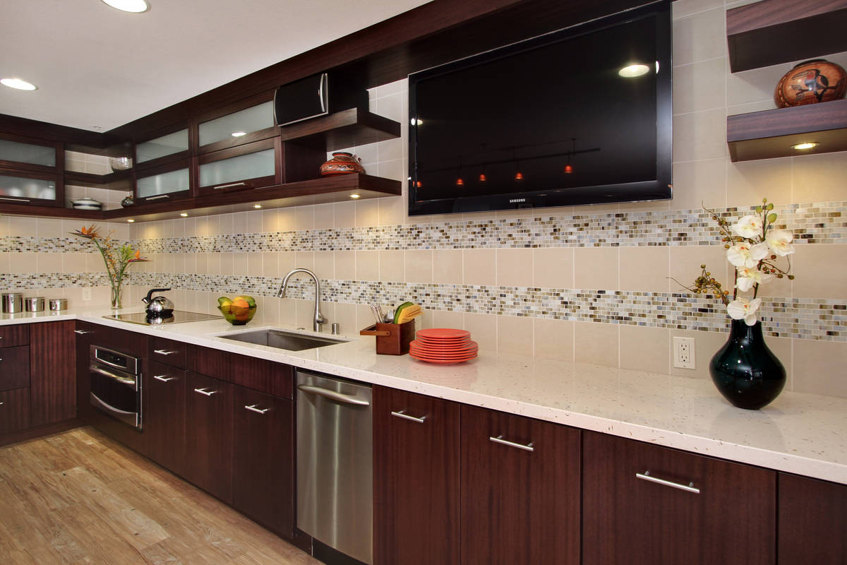Contemporary Kitchen Cabinets in Mahogany