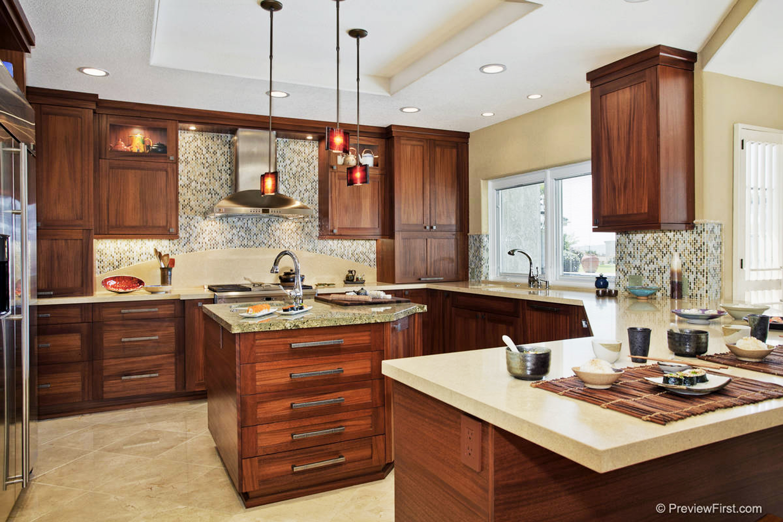 Modern Craftsman Kitchen Cabinets in Mahogany
