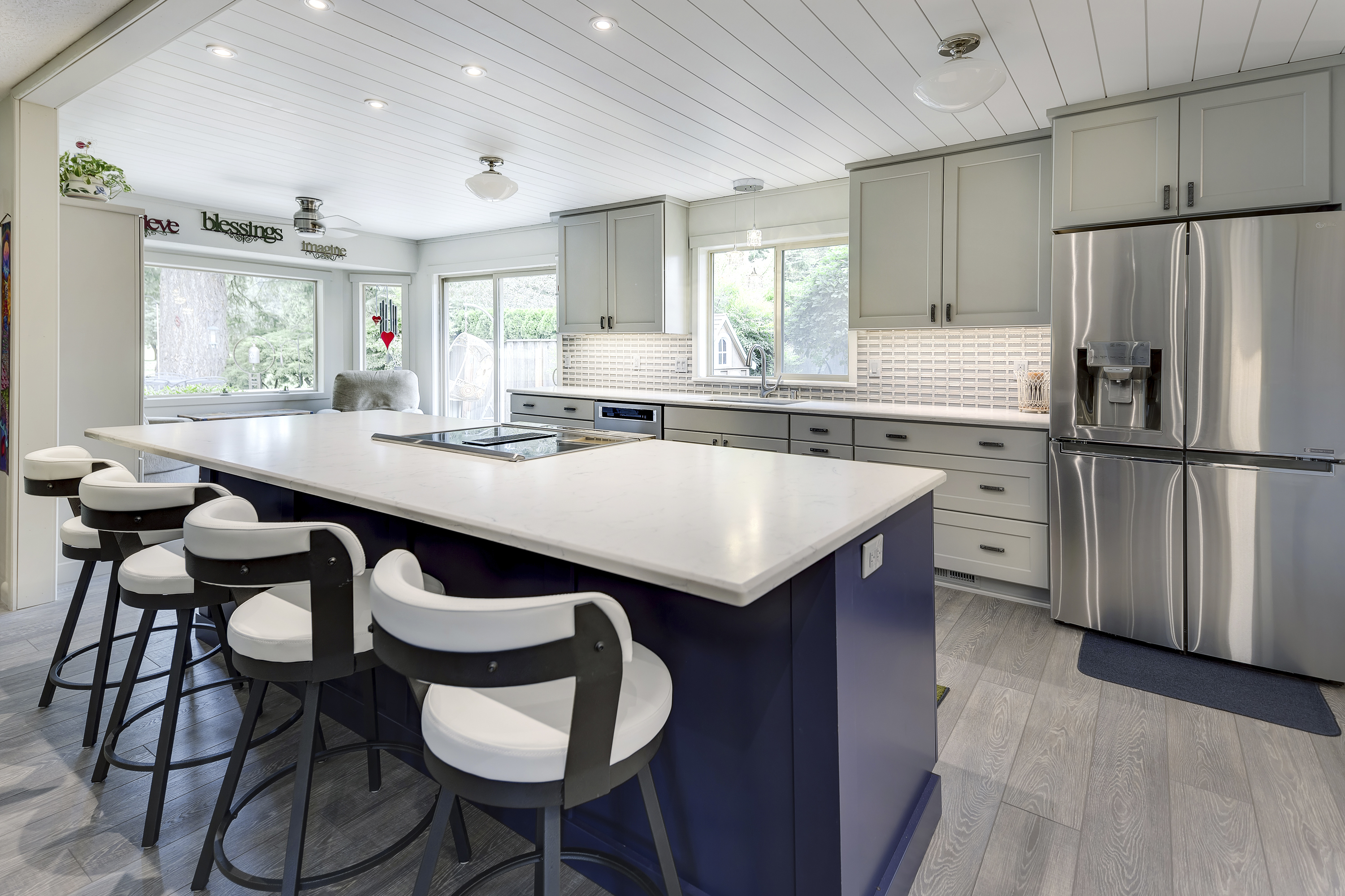 Ash Greige and Indigo Blue Beachy Kitchen Cabinets