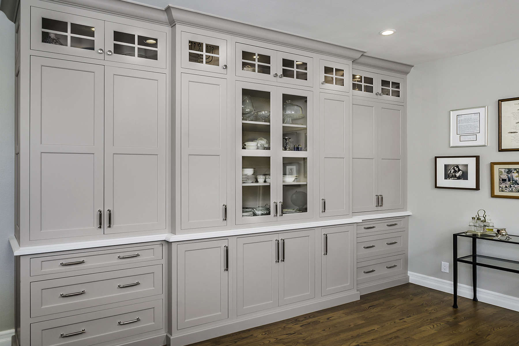 Athina Light Grey Kitchen Cabinets With Glass Inserts