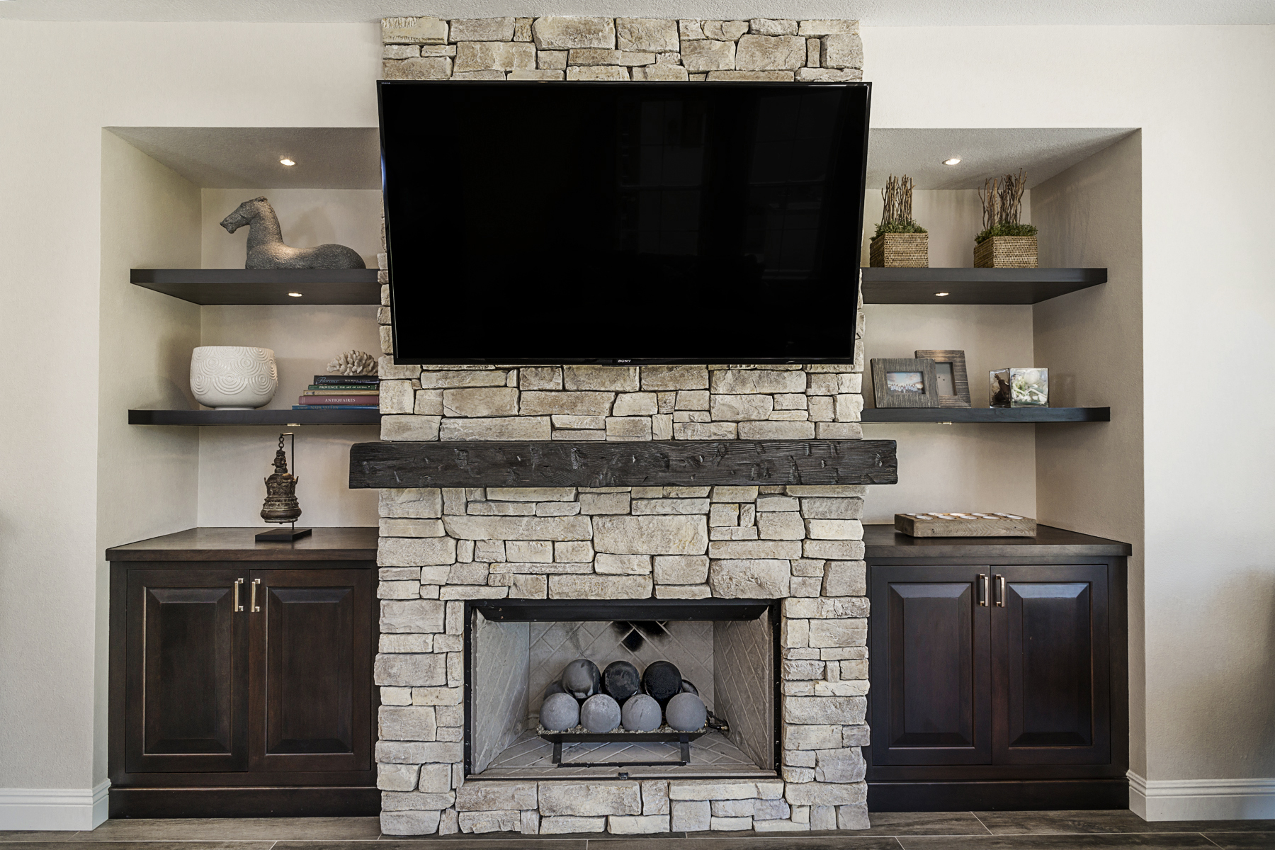 Custom Cabinets Surround Fireplace