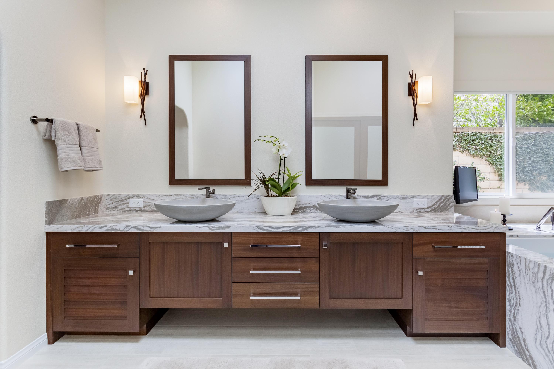 Calypso Bathroom Cabinets in Mahogany