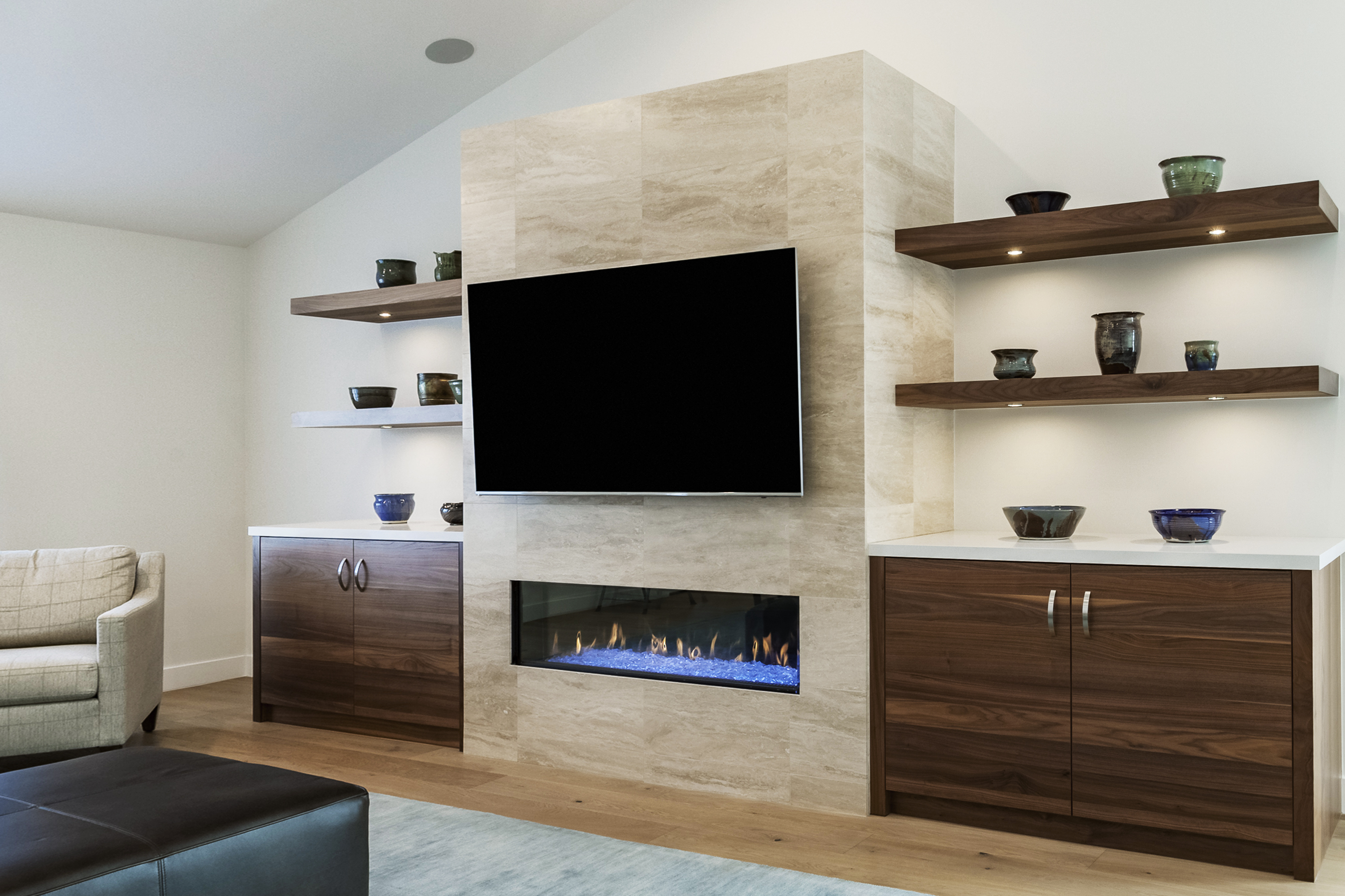 Modern Built In Cabinets Around Fireplace