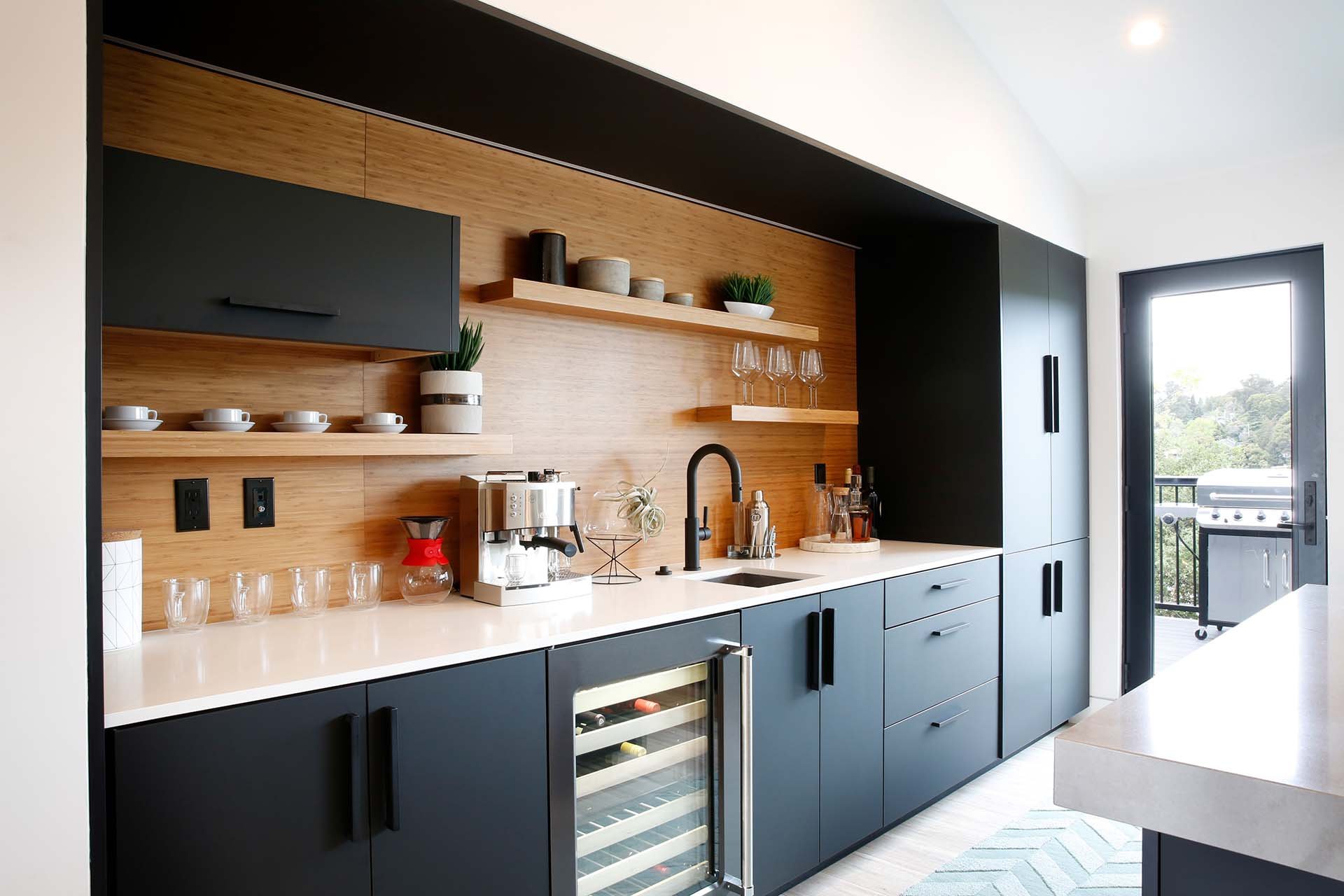 Matte Black and Bamboo Home Coffee Bar