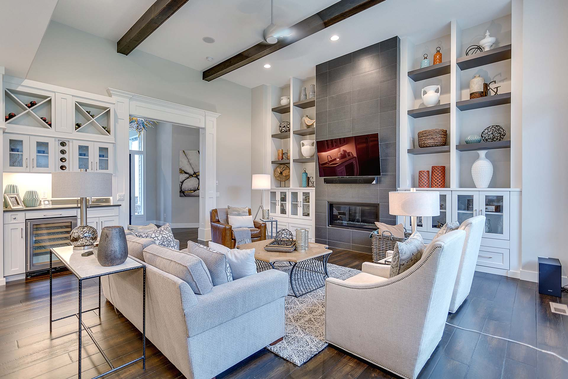 Luxury Great Room in Grey + White