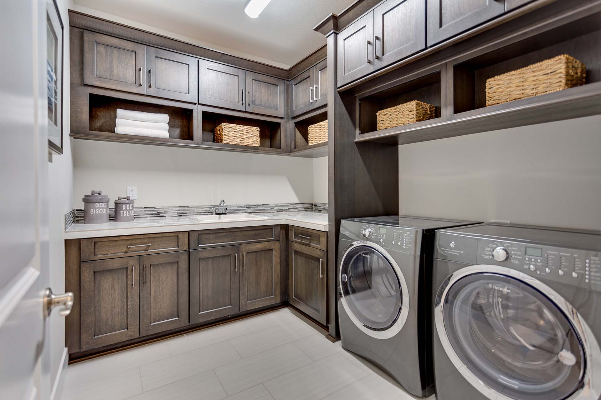 Grey Laundry Room Cabinetry