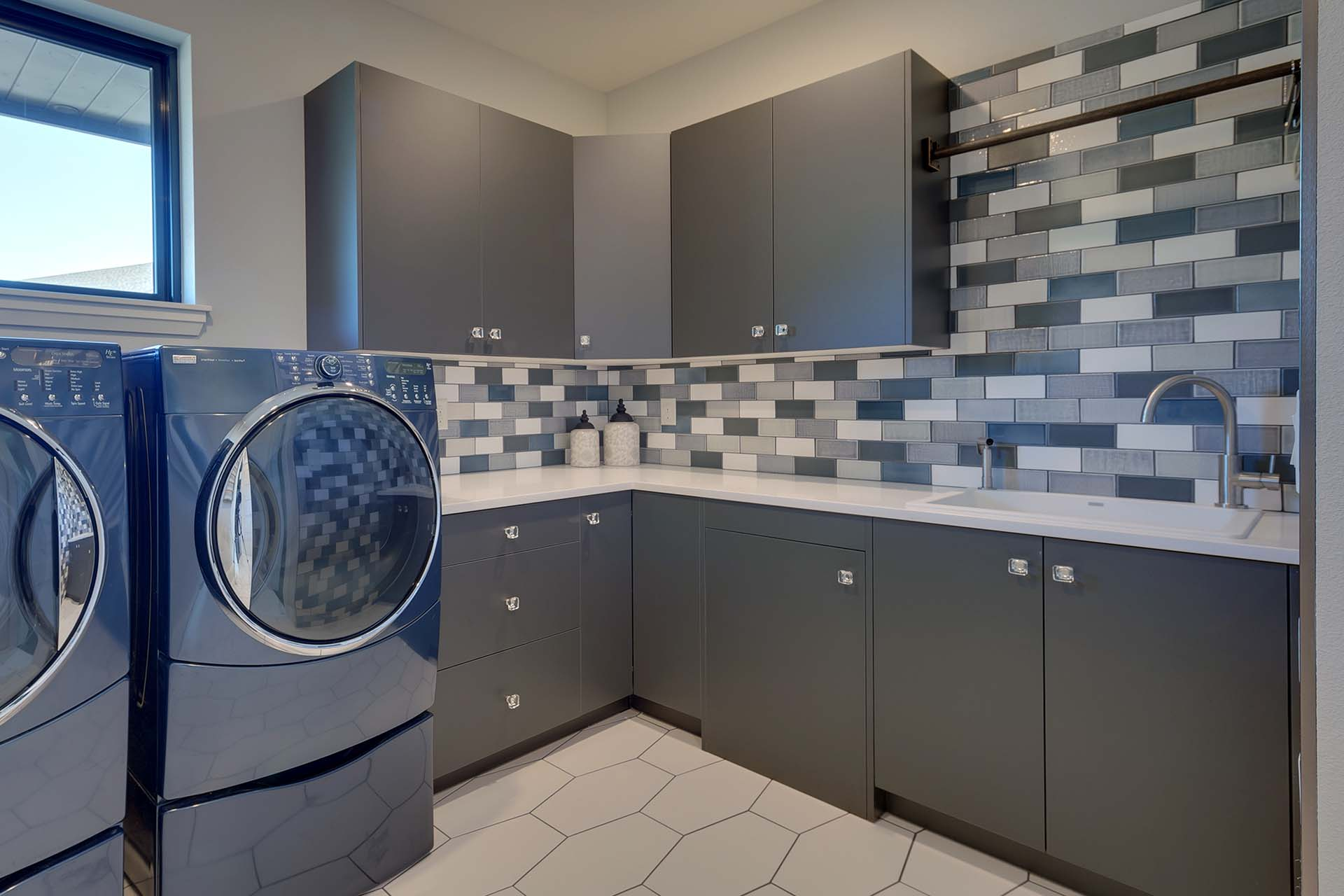 Modern Blue Tile Laundry Room