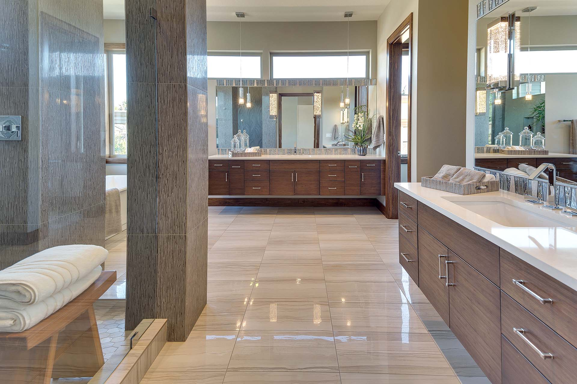 Master Suite with Bamboo Floating Vanities