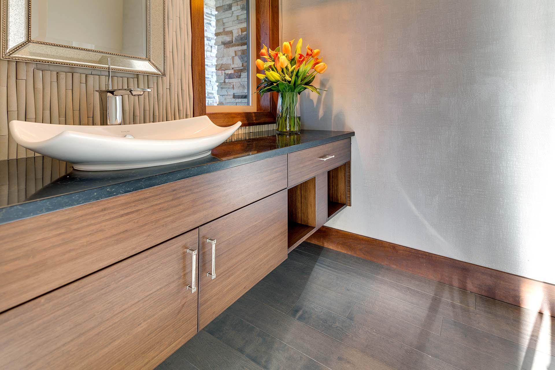 Modern Bamboo Guest Bath Floating Vanity