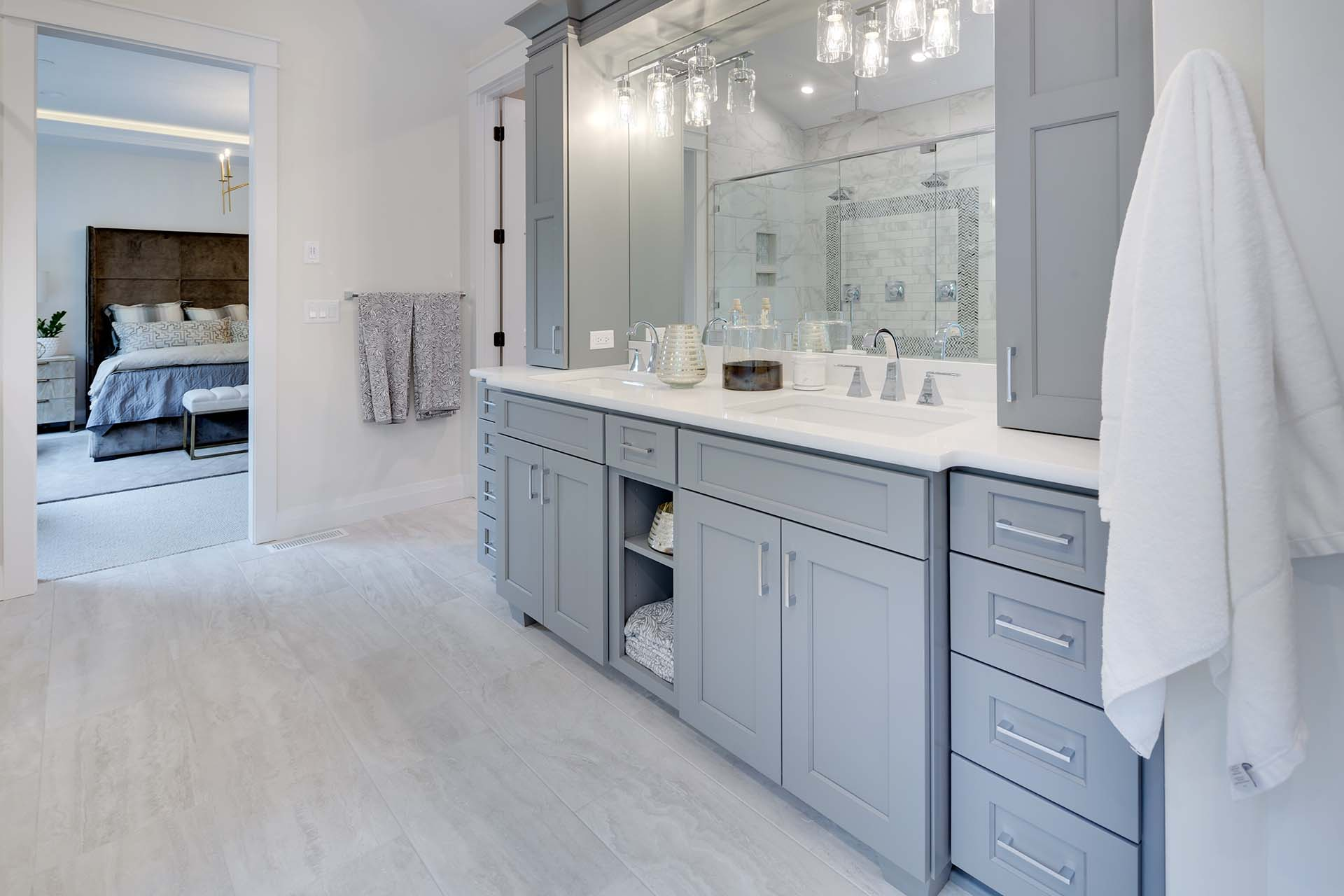 Grey Blue Bathroom Cabinetry